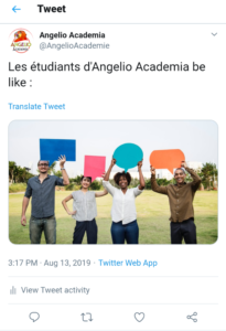 screenshot étudiants Angelio Academia Twitter